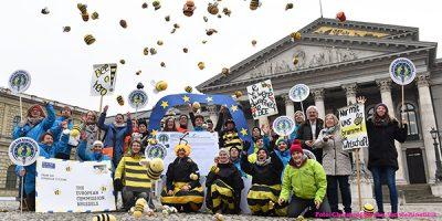 """Eine große Gruppe Mitglieder des Bündnisses für die Europäische Bürgerinitiative (EBI) """"Save Bees and Farmers – Bienen und Bauern retten"""" feiert auf dem Max-Joseph-Platz in München den Start der Unterschriftensammlung. Einige tragen Bienenkostüme, Stoffbienen werden in die Luft geworfen. Mit dabei ist auch die grüne Landesvorsitzende in Bayern, Eva Lettenbauer."""